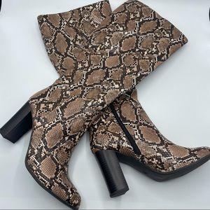 Brandee Snake Print Over the Knee heeled boot 9.5